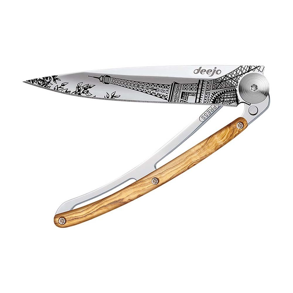 Складной нож Deejo Mirror Eiffel Tower 37g, Olive tree wood eiffel tower round wood analog wall clock