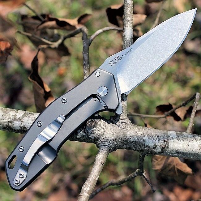 Фото 5 - Складной нож Eris KERSHAW 1881, сталь лезвия 8Cr13MoV покрытие Stonewashed/Satin, рукоять сталь, серый