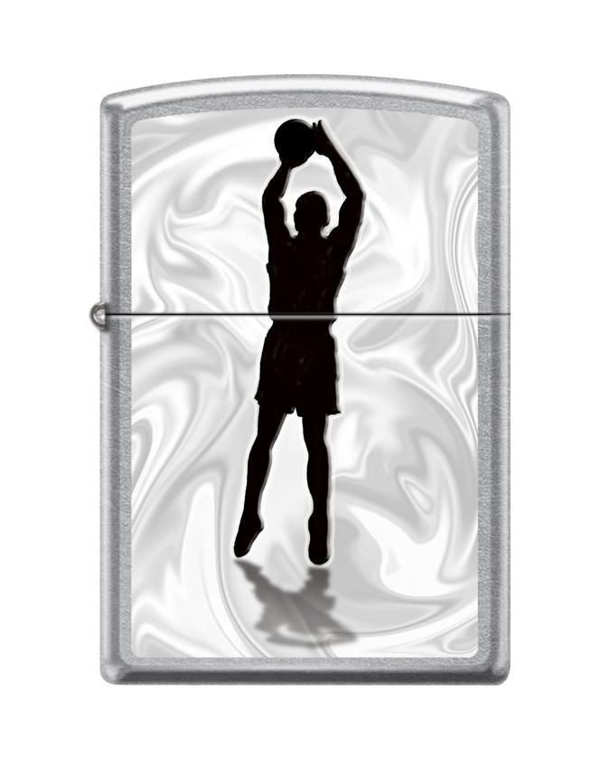Зажигалка ZIPPO Баскетболист с покрытием Street Chrome™, латунь/сталь, серебристая, 36x12x56 мм
