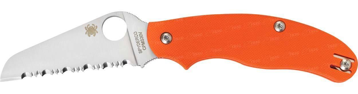 Нож складной Rescue OrangeМаленький, но тем не менее весьма полезный спасательный нож. Заточенный с помощью лазерной обработки, клинок стали GIN-1 имеет серрейторную заточку. Окончание скруглено и не имеет заточки. Это сделано с целью исключить нанесение порезов спасаемому человеку при его освобождении от ремней безопасности или при разрезании одежды. Нож не имеет каких-либо замков запирання, а открывается и закрывается только за счет приминения усилия.