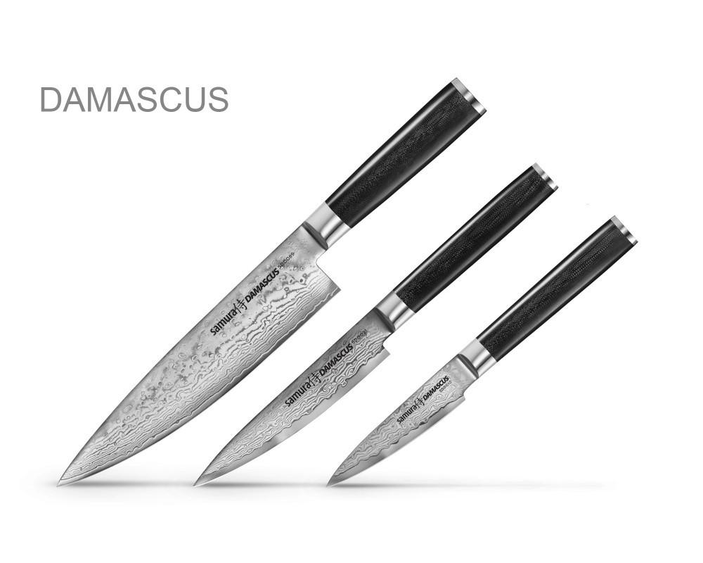 Фото 3 - Набор из 3 кухонных ножей Samura DAMASCUS в подарочной коробке -