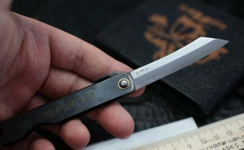 Нож складной Higonokami, сталь AoGami, рукоять Stainless Steel, черный. Вид 4