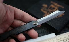 Нож складной Higonokami, сталь AoGami, рукоять Stainless Steel, черный, фото 4