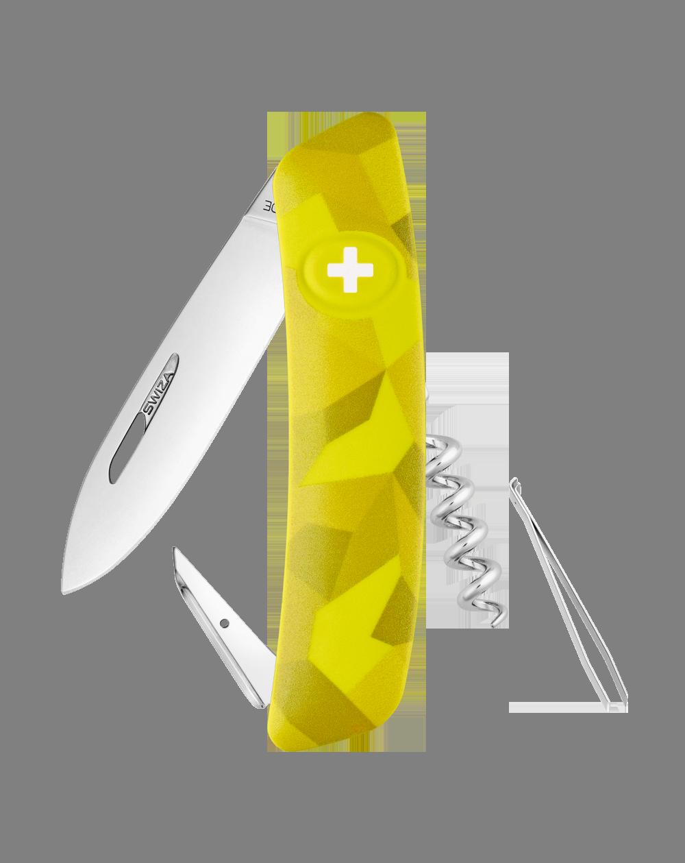 Швейцарский нож SWIZA C01 Camouflage, сталь 440, 95 мм, 6 функций, желтый