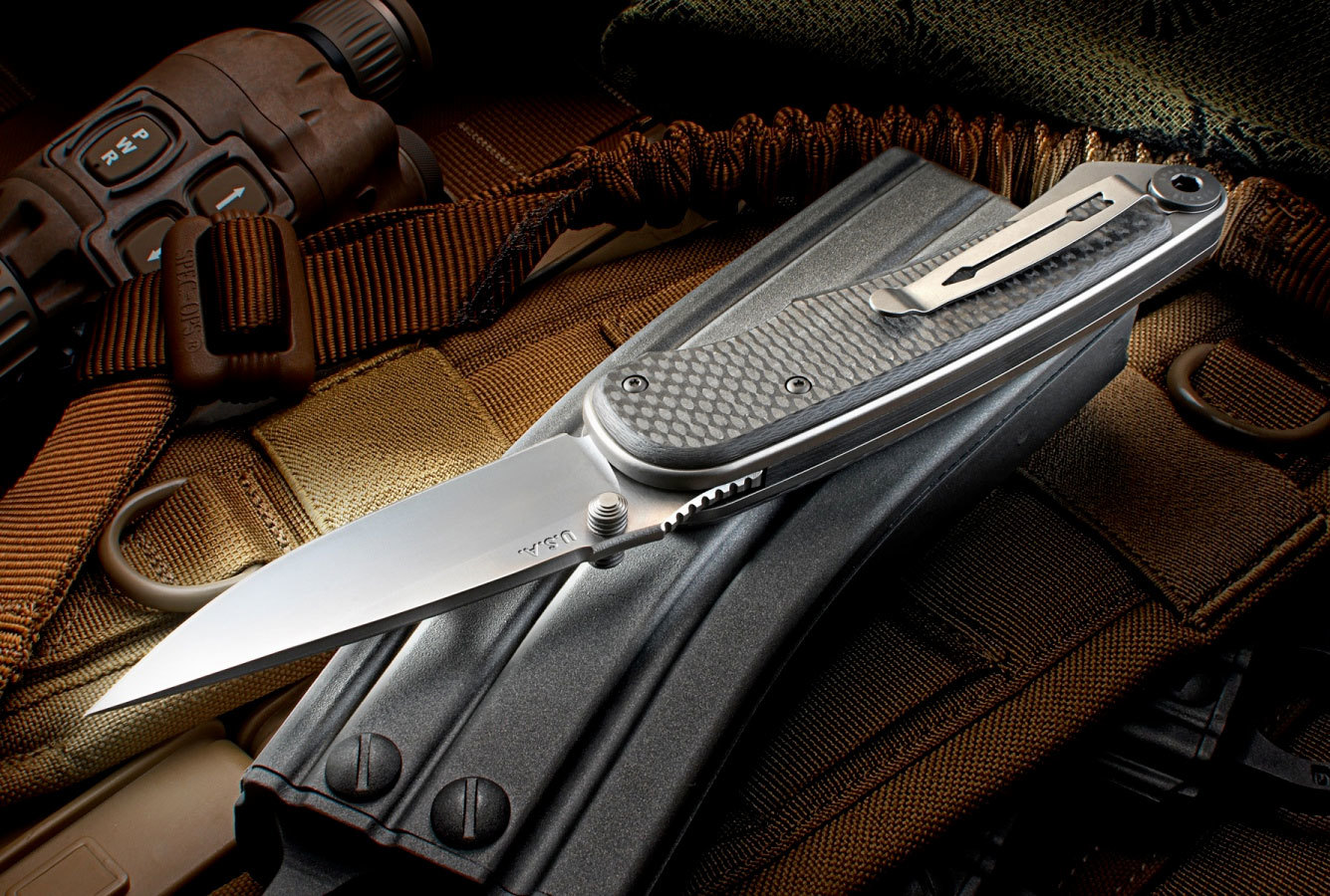 Фото 11 - Нож складной Spartan Blades Akribis Meteorite Grey, сталь CPM-S35VN, рукоять титан/карбон