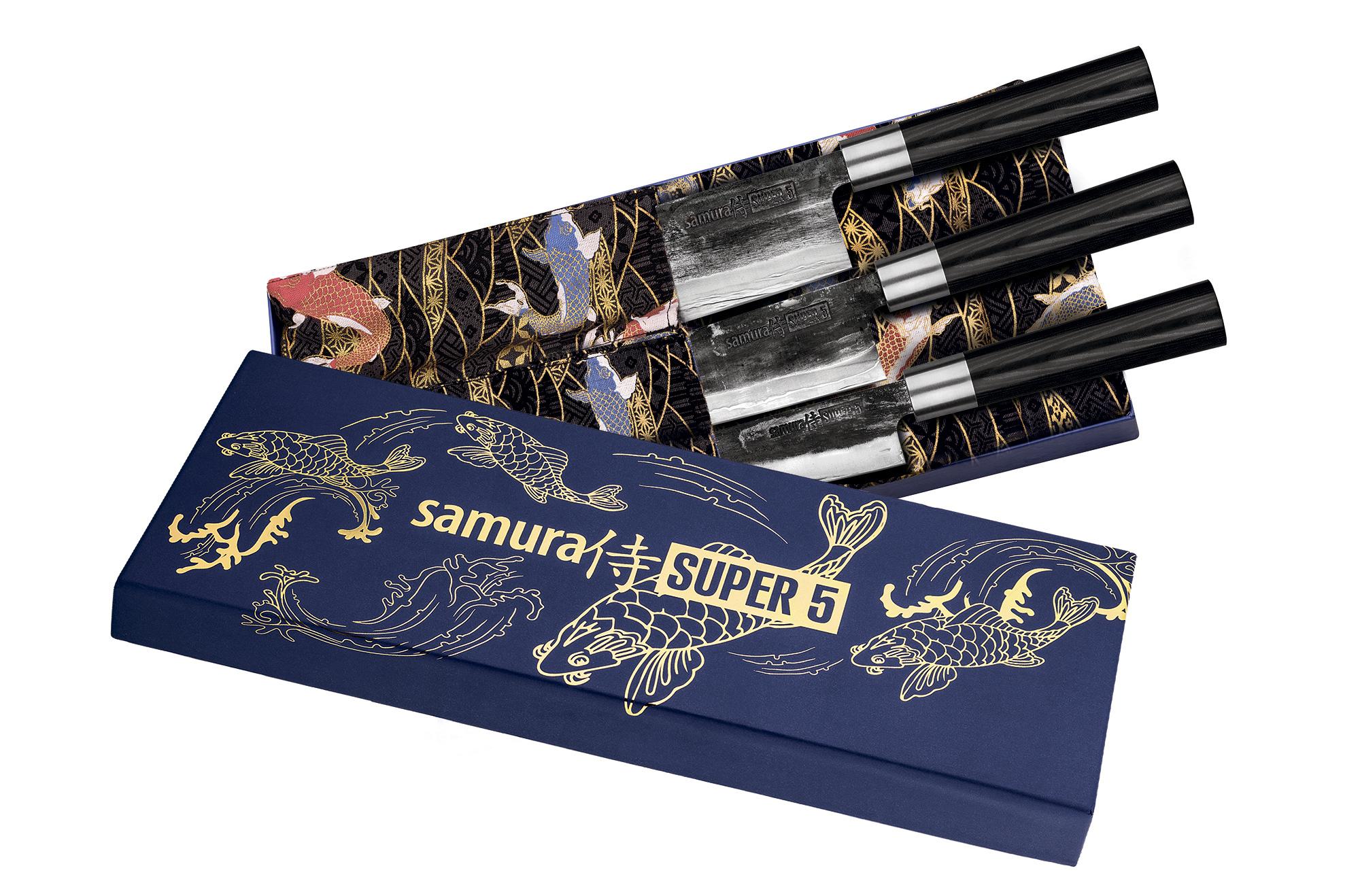 Набор кухонный - 3 кухонных ножа Samura SUPER 5 (23, 43, 95), гвоздичное масло, салфетка
