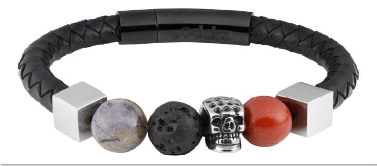 Фото - Браслет ZIPPO, чёрный, нержавеющая сталь/натуральная кожа/природные камни, 22x1x1 см браслет содалит биж сплав сталь хир 18 см 3 см