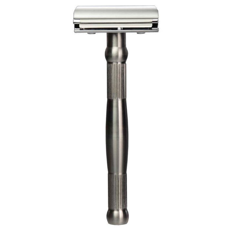 Станок для бритья ERBE с двумя лезвиями, цвет хром, ручка высококачественная нержавеющая сталь