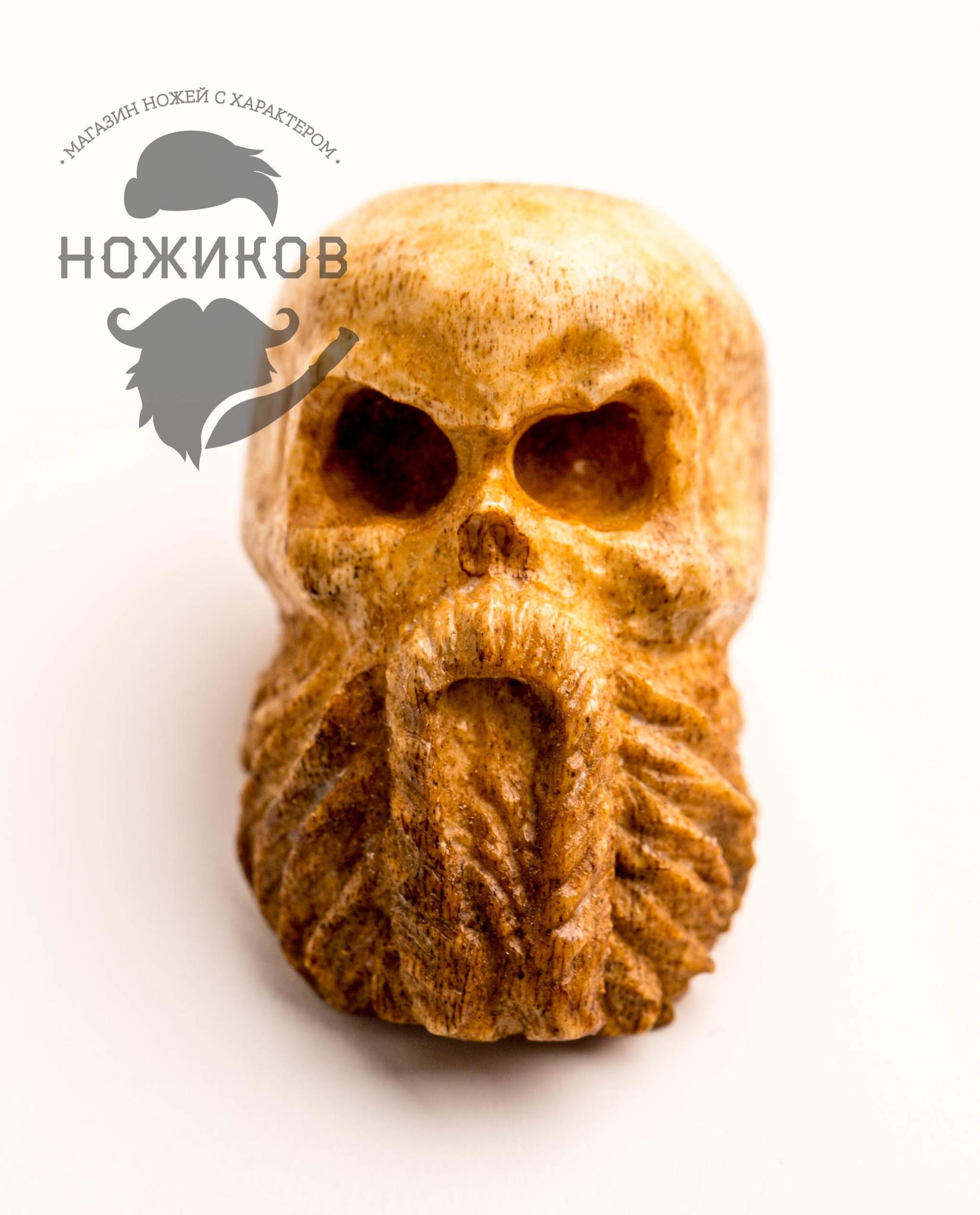 Бусина для темляка Бородатый череп кулон знаки любви lampwork ручная авторская работа