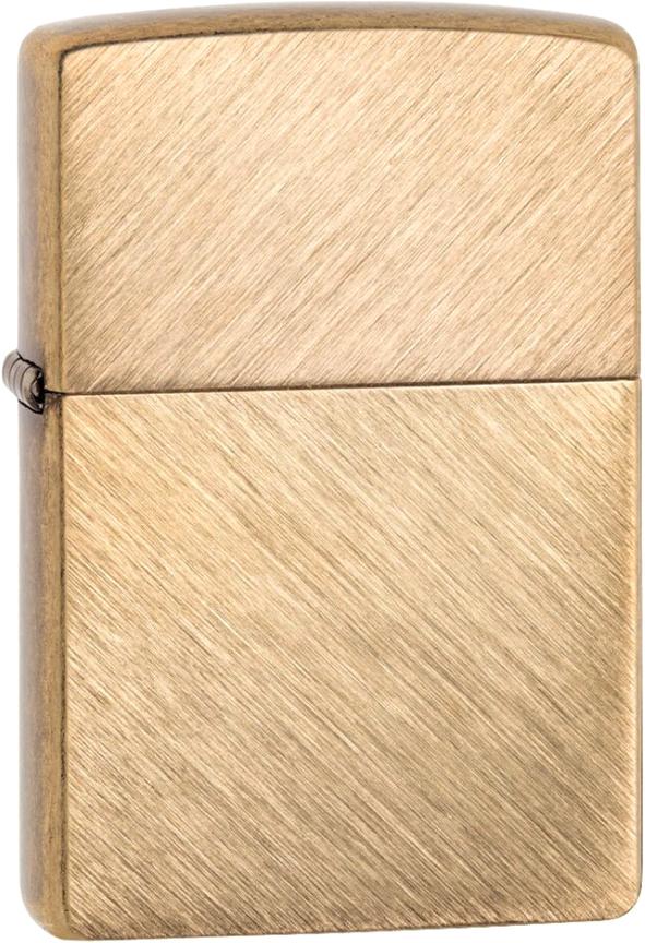 Зажигалка ZIPPO Classic с покрытием Herringbone Sweep Brass, латунь/сталь, золотистая, 36x12x56 мм