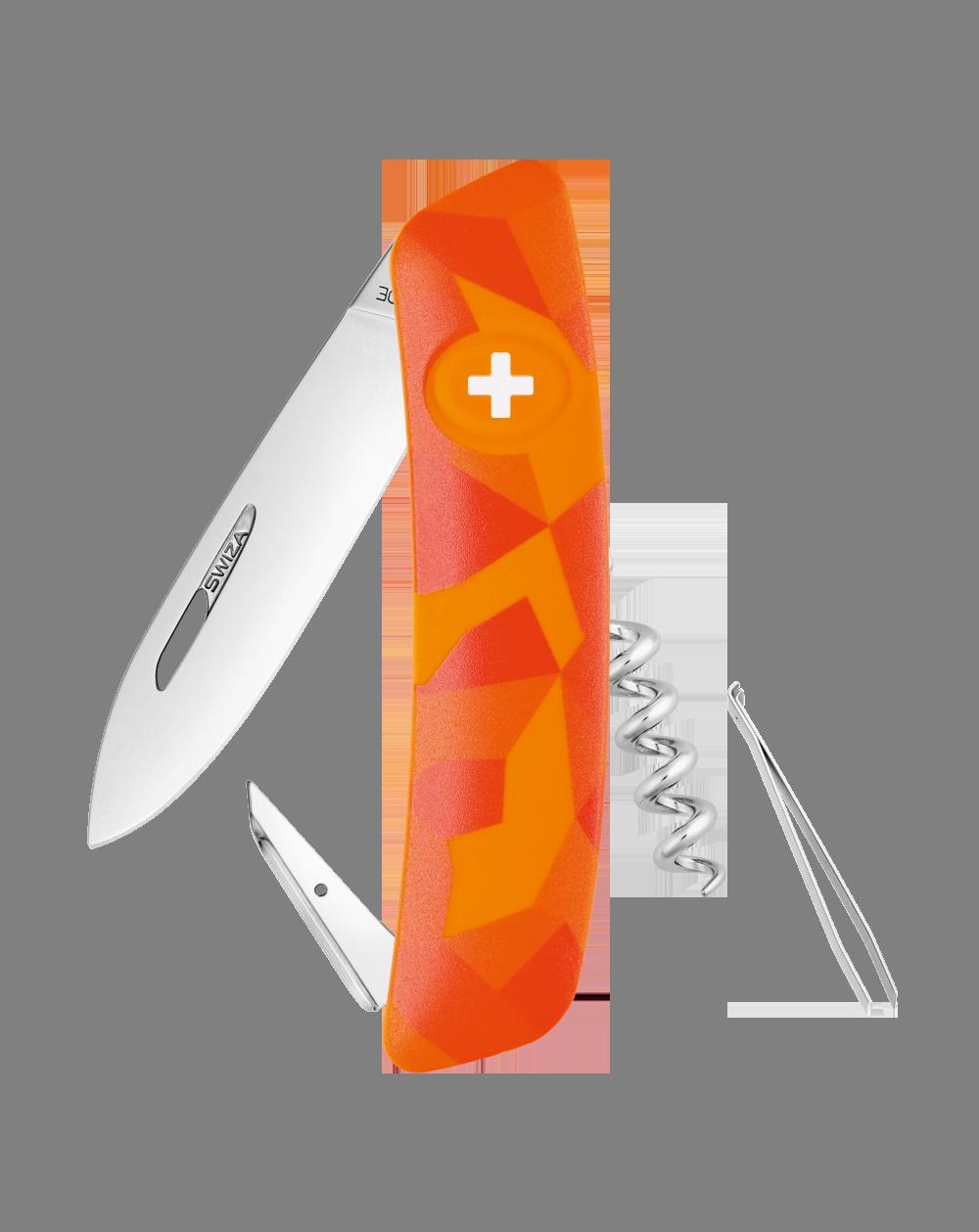 Швейцарский нож SWIZA C01 Camouflage, сталь 440, 95 мм, 6 функций, оранж