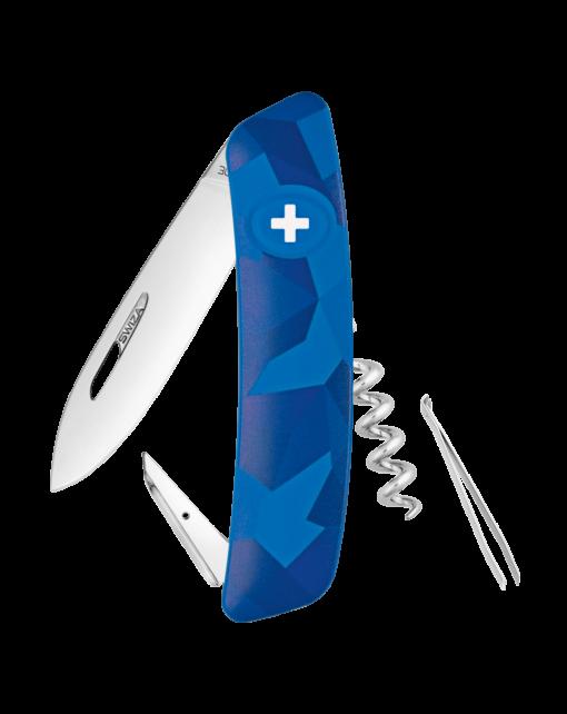 Фото - Швейцарский нож SWIZA C01 Camouflage, сталь 440, 95 мм, 6 функций, синий