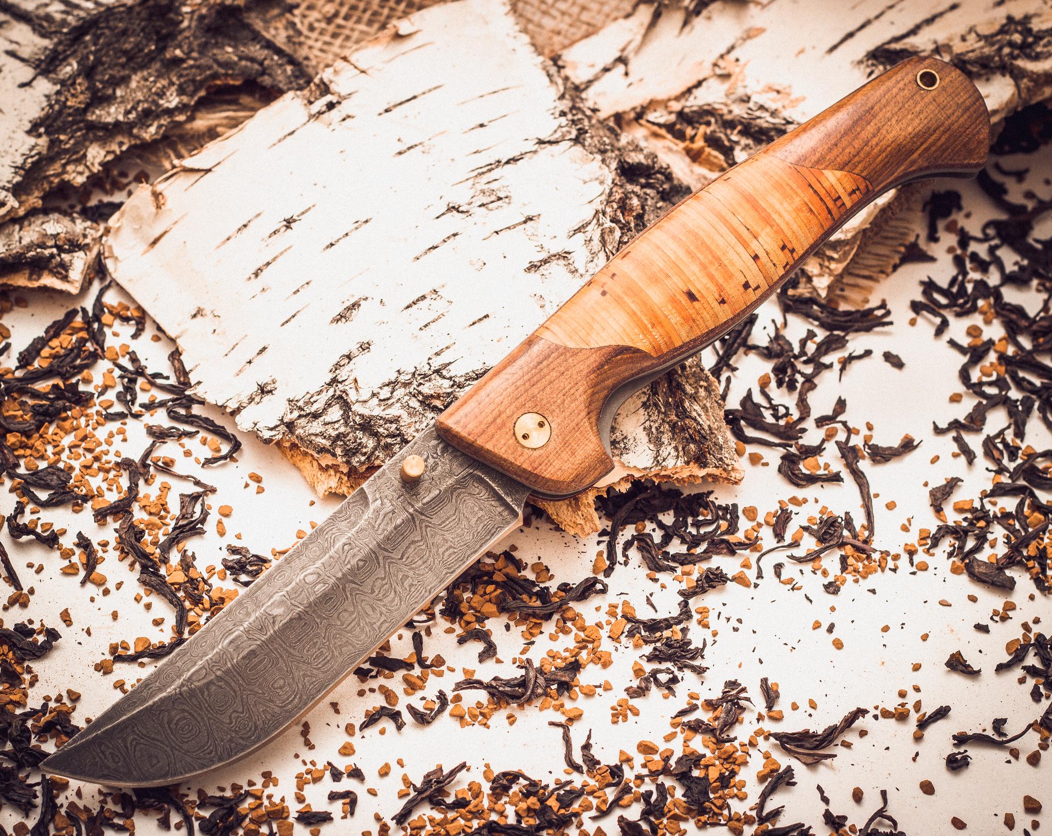 Складной нож Страж 2, дамаск, береста от Марычев