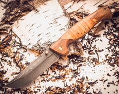Складной нож Страж 2, дамаск, береста