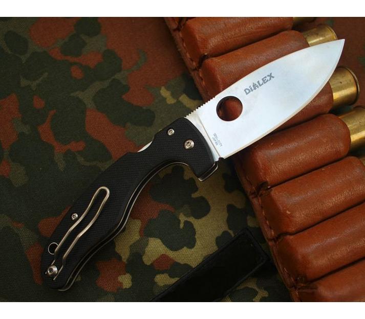 Фото 9 - Нож складной Junior - Spyderco 150GP, сталь VG-10 Satin Plain, рукоять стеклотекстолит G10, чёрный