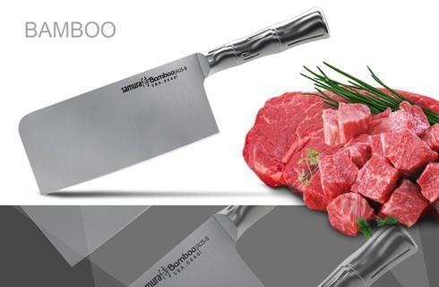 Фото 4 - Топорик кухонный для рубки мяса Samura Bamboo - SBA-0040, сталь AUS-8, рукоять сталь, 180 мм