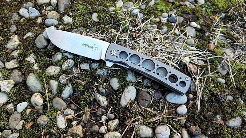 Фото 16 - Нож складной Boker Plus FR Titan, Designed by Brad Zinker, IKBS® Flipper, сталь VG-10 Satin Plain, рукоять титан, 01BO740