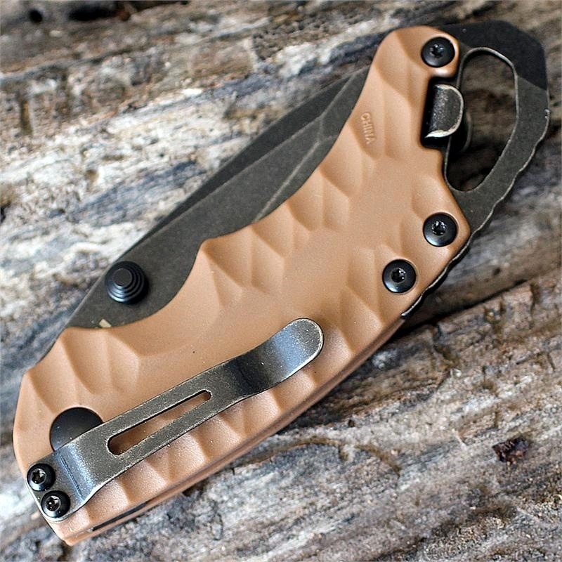 Фото 5 - Нож складной Shuffle II - KERSHAW 8750TTANBW, сталь 8Cr13MoV c покрытием BlackWash™, рукоять термопластик GFN коричневого цвета
