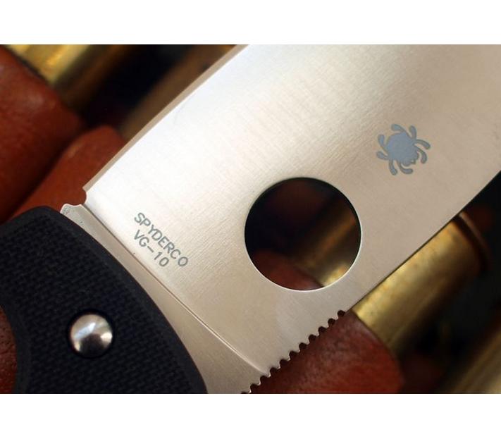 Фото 11 - Нож складной Junior - Spyderco 150GP, сталь VG-10 Satin Plain, рукоять стеклотекстолит G10, чёрный