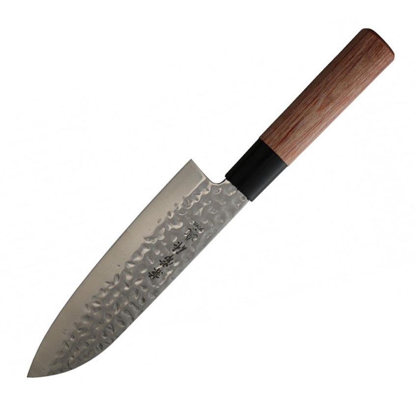 Нож шефа Сантоку Kanetsune, сталь DSR1K6, рукоять pakka wood нож кухонный сантоку kanetsune сталь 420j2 stainless steel рукоять дерево вишня