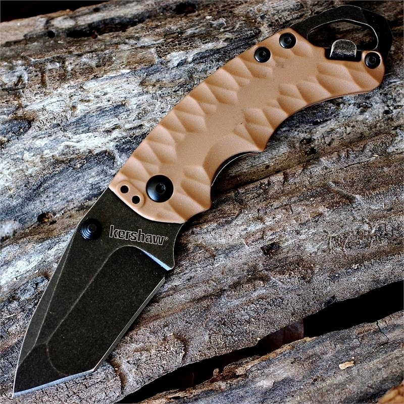 Фото 6 - Нож складной Shuffle II - KERSHAW 8750TTANBW, сталь 8Cr13MoV c покрытием BlackWash™, рукоять термопластик GFN коричневого цвета