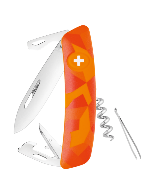 Швейцарский нож SWIZA C03 Camouflage, 440, 95 мм, 11 функций, оранжевый