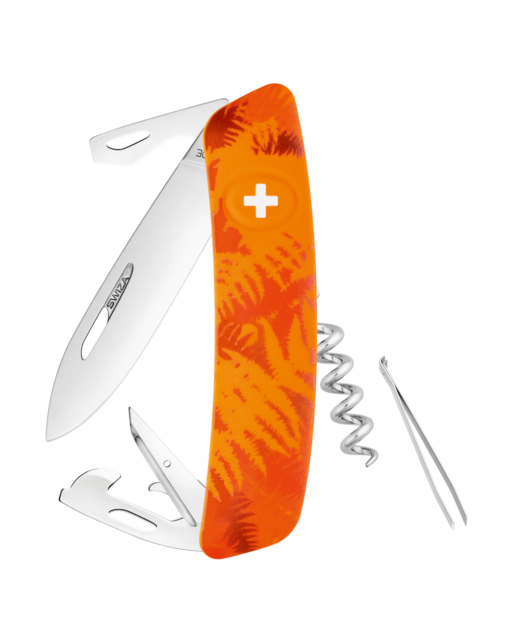 Швейцарский нож SWIZA C03 Camouflage, сталь 440, 95 мм, 11 функций, оранжевый