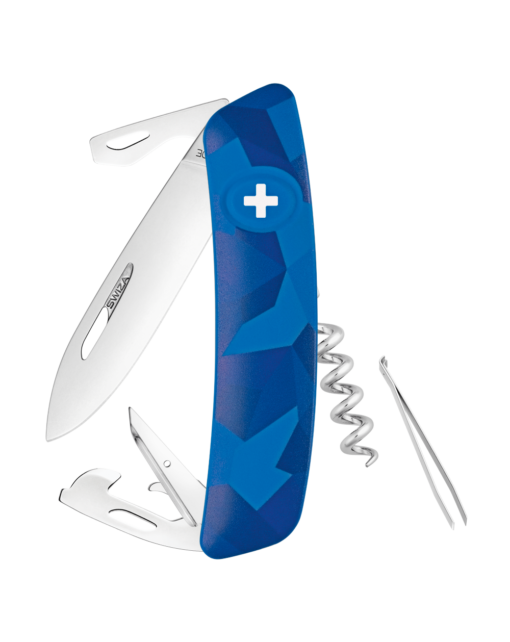Швейцарский нож SWIZA C03 Camouflage, сталь 440, 95 мм, 11 функций, синий