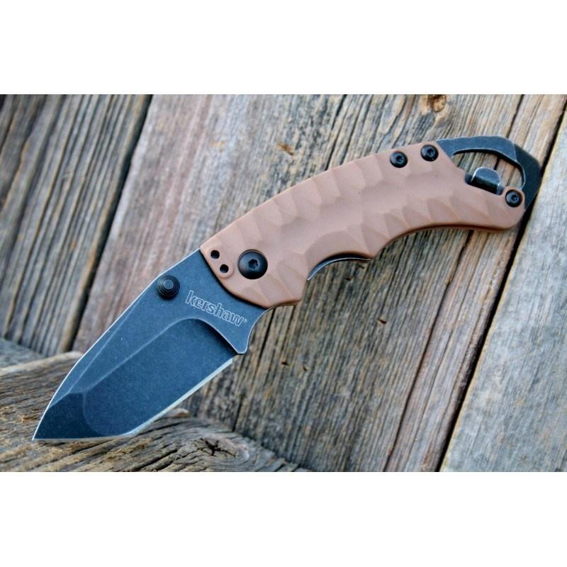 Фото 9 - Нож складной Shuffle II - KERSHAW 8750TTANBW, сталь 8Cr13MoV c покрытием BlackWash™, рукоять термопластик GFN коричневого цвета