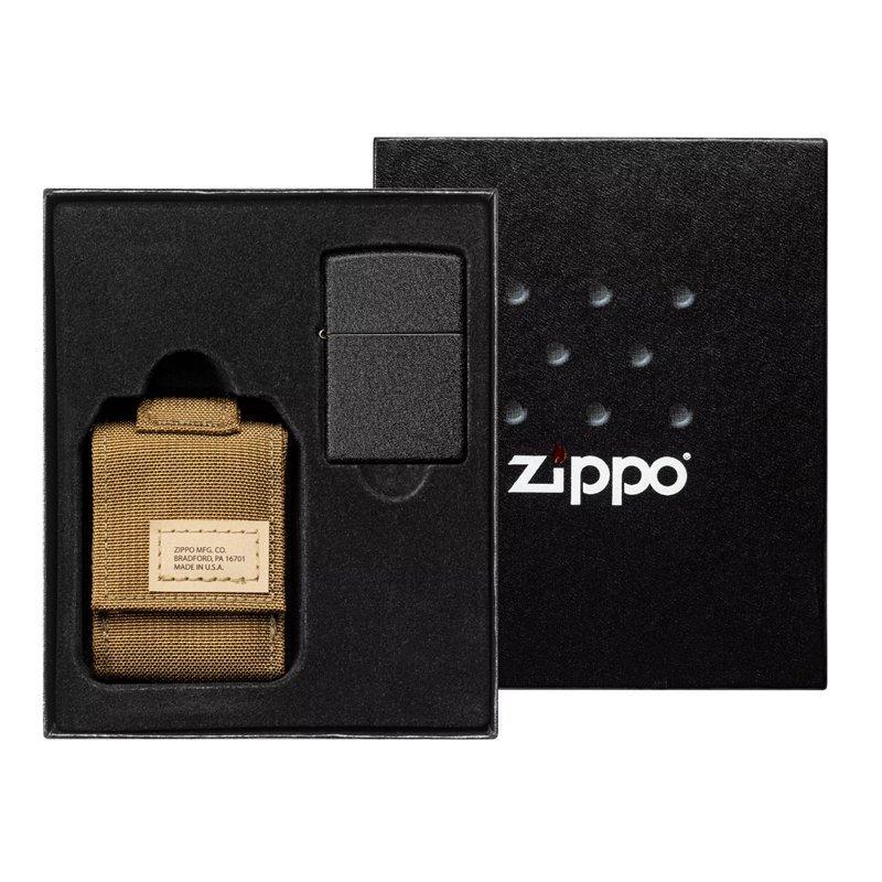 Подарочный набор: зажигалка Black Crackle® и коричневый нейлоновый чехол ZIPPO недорого