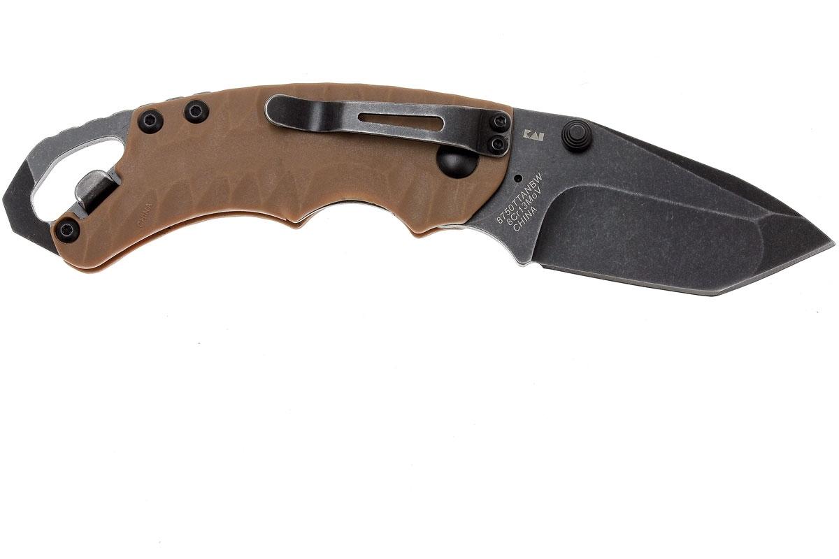 Фото 10 - Нож складной Shuffle II - KERSHAW 8750TTANBW, сталь 8Cr13MoV c покрытием BlackWash™, рукоять термопластик GFN коричневого цвета
