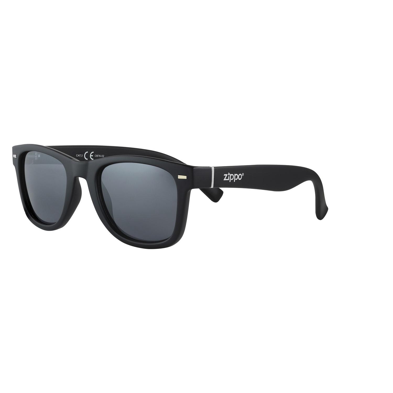 Очки солнцезащитные ZIPPO OB76-02, унисекс, чёрные, оправа, линзы и дужки из поликарбоната