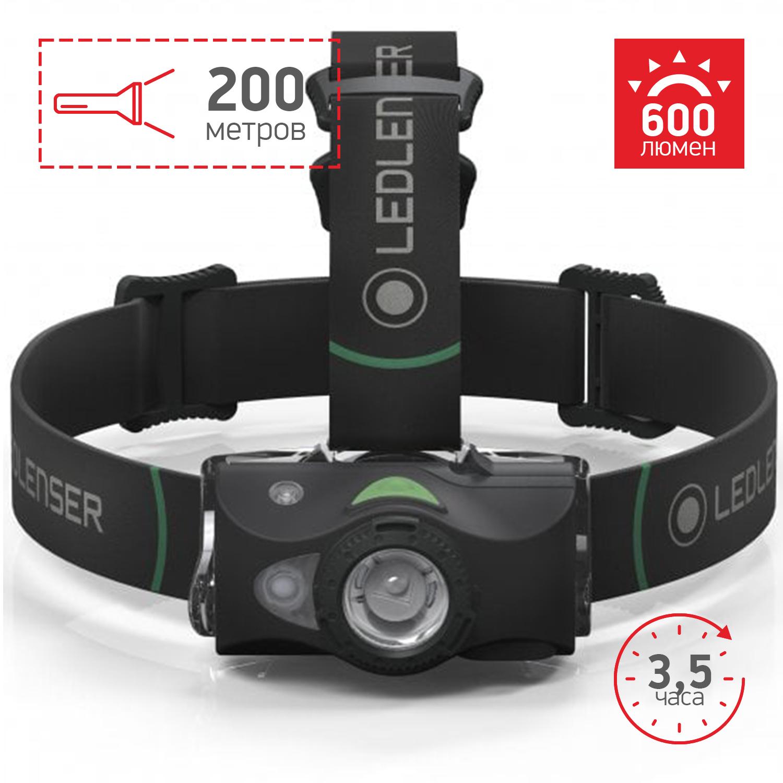 Фото - Фонарь светодиодный налобный LED Lenser MH8, черный, 600 лм, аккумулятор аккумулятор