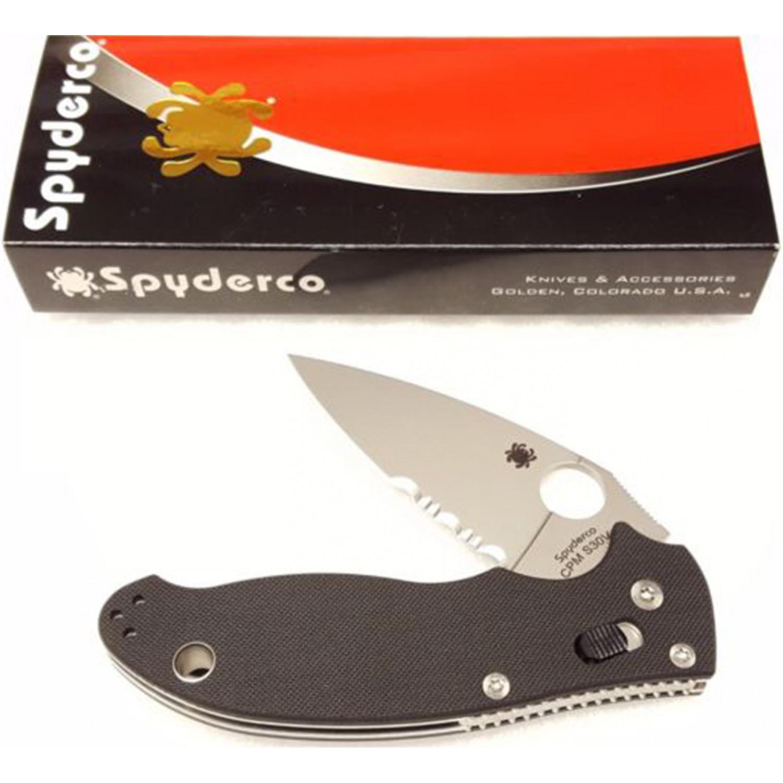 Фото 4 - Нож складной Manix 2 - Spyderco 101GPS2, сталь Crucible CPM® S30V™ Satin Combo, рукоять G10, чёрный