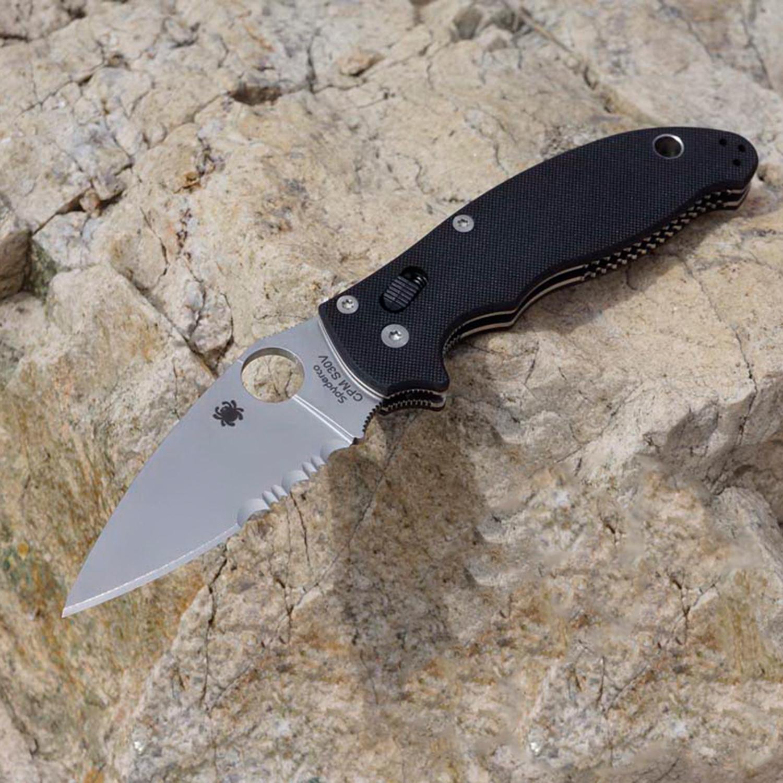 Фото 6 - Нож складной Manix 2 - Spyderco 101GPS2, сталь Crucible CPM® S30V™ Satin Combo, рукоять G10, чёрный