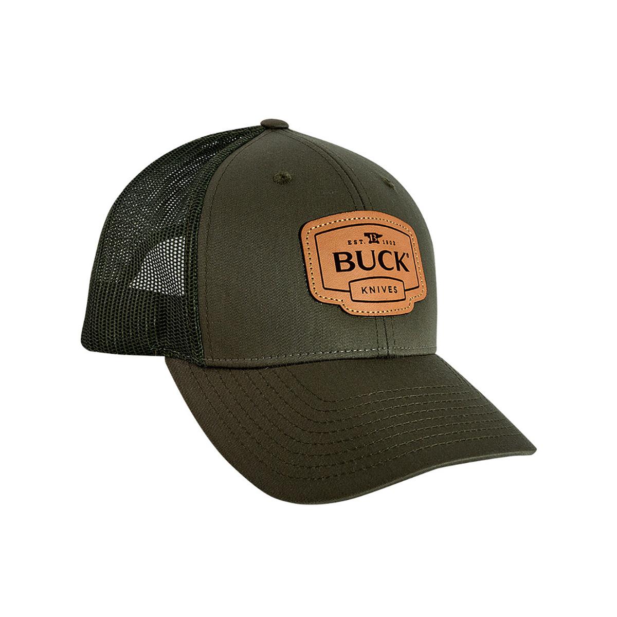 Бейсболка Buck Leather Patch Cap, темно-зеленая