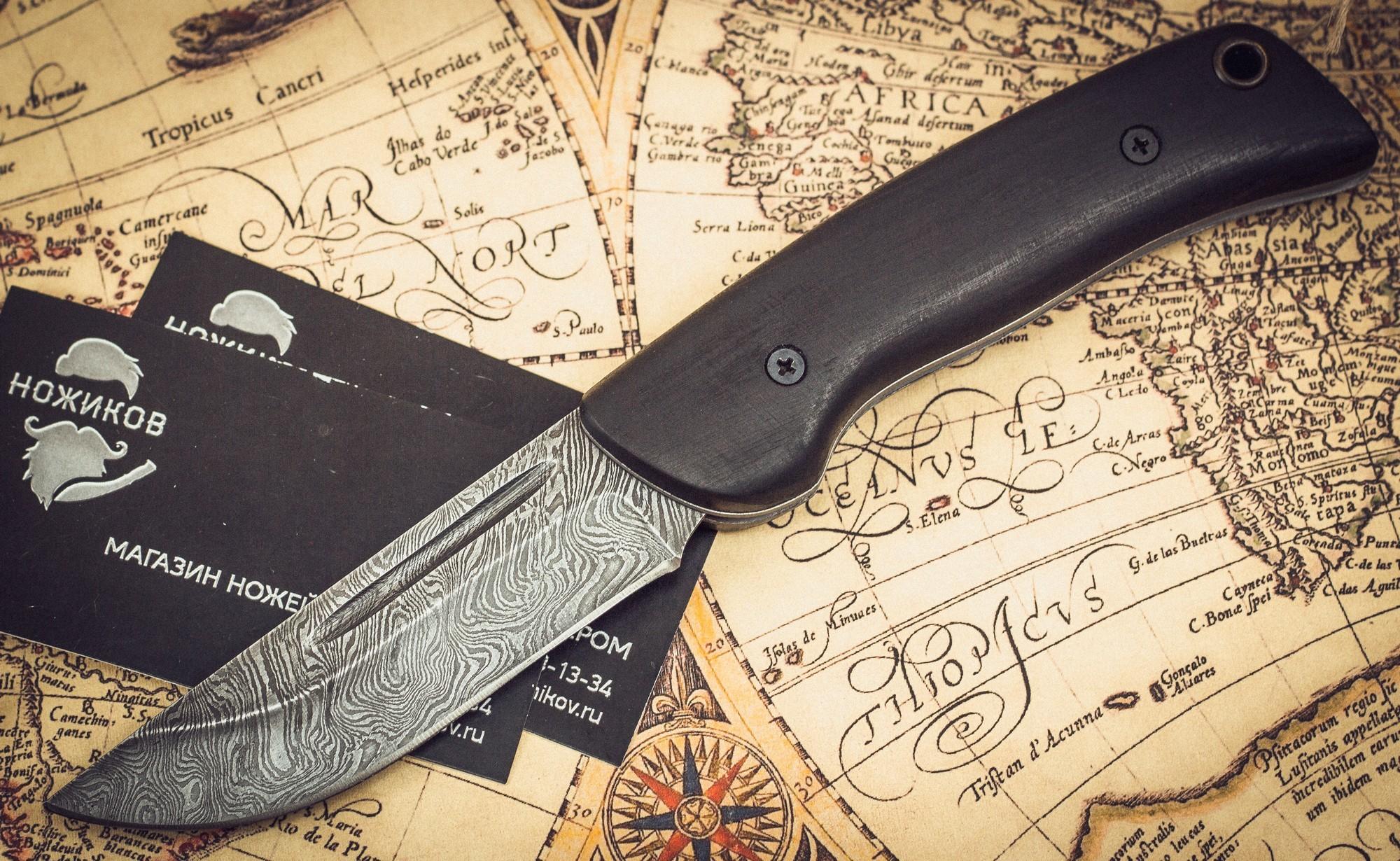 Складной нож Морвин, дамаск, граб