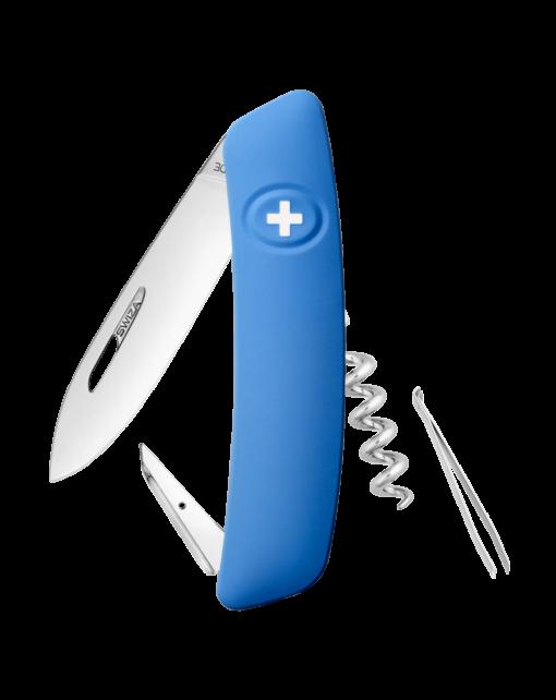Швейцарский нож SWIZA Standard, сталь 440, 95 мм, 6 функций, синий