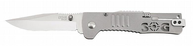 Фото 2 - Складной нож SlimJim - SOG SJ31, сталь AUS-8, рукоять сталь 420, серебристый