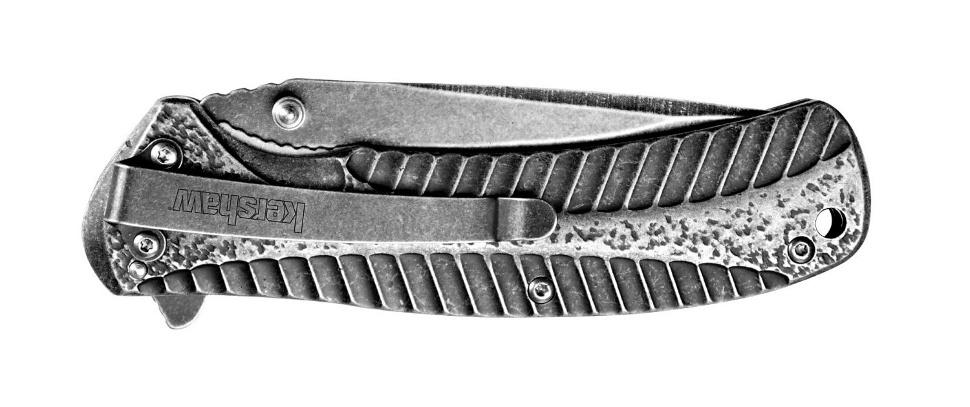 Фото 8 - Складной нож Starter KERSHAW 1301BW, сталь 4Cr14 с покрытием BlackWash™, рукоять нержавеющая сталь