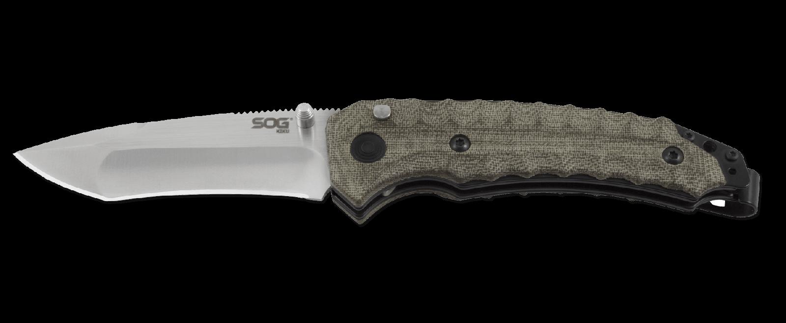 Складной нож Kiku Assisted - SOG KU-3001, сталь VG-10, рукоять микарта, зелёный