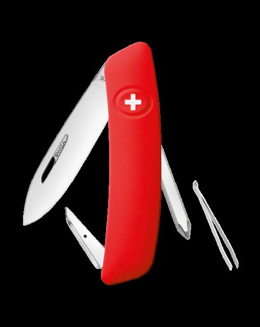 Швейцарский нож SWIZA D02 Standard, сталь 440, 95 мм, 6 функций, красный
