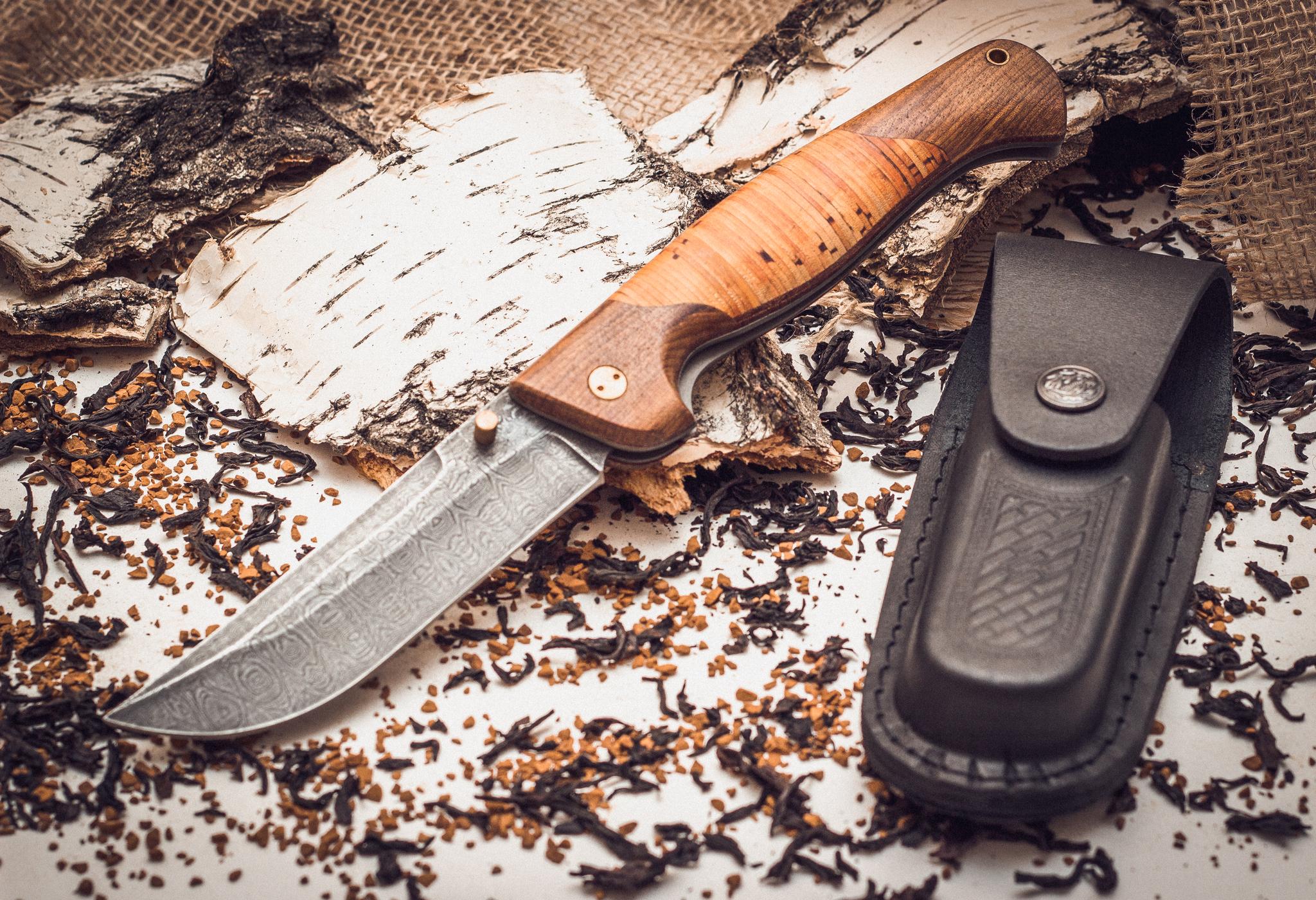 Фото 6 - Складной нож Страж 2, дамаск, береста от Марычев