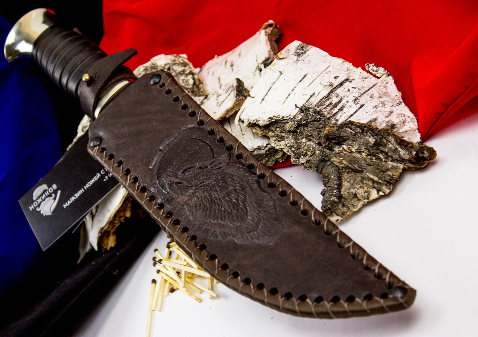 Фото 8 - Пластунский кованый нож Казак, Х12МФ, мельхиор от Кузница Семина