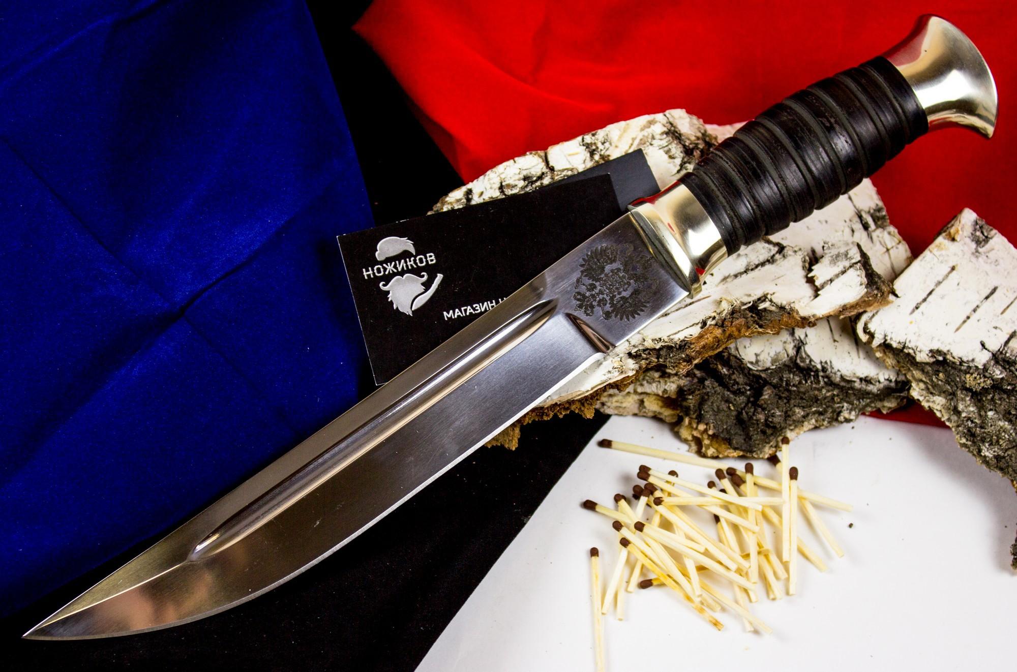 Фото 6 - Пластунский кованый нож Казак, Х12МФ, мельхиор от Кузница Семина