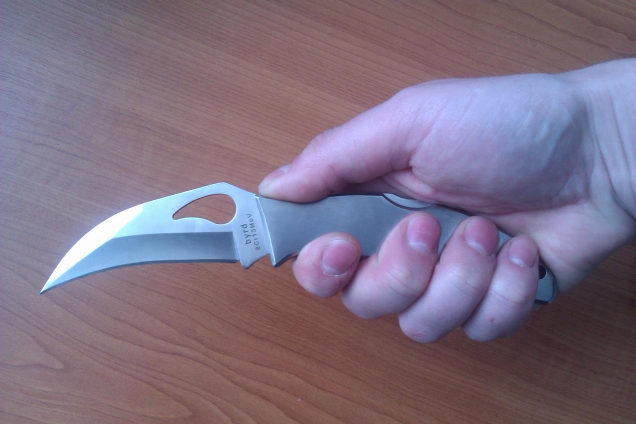 Фото 9 - Нож складной CROSSBILL Spyderco BY07P, сталь 8Cr13MOV Satin Plain, рукоять нержавеющая сталь