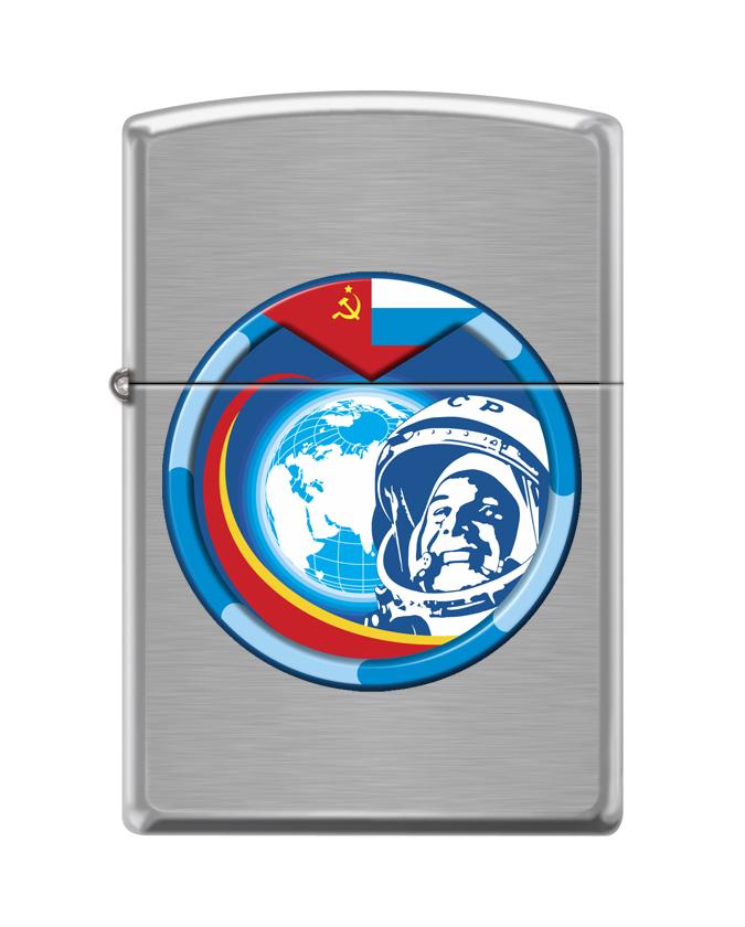 Зажигалка ZIPPO Гагарин с покрытием Brushed Chrome