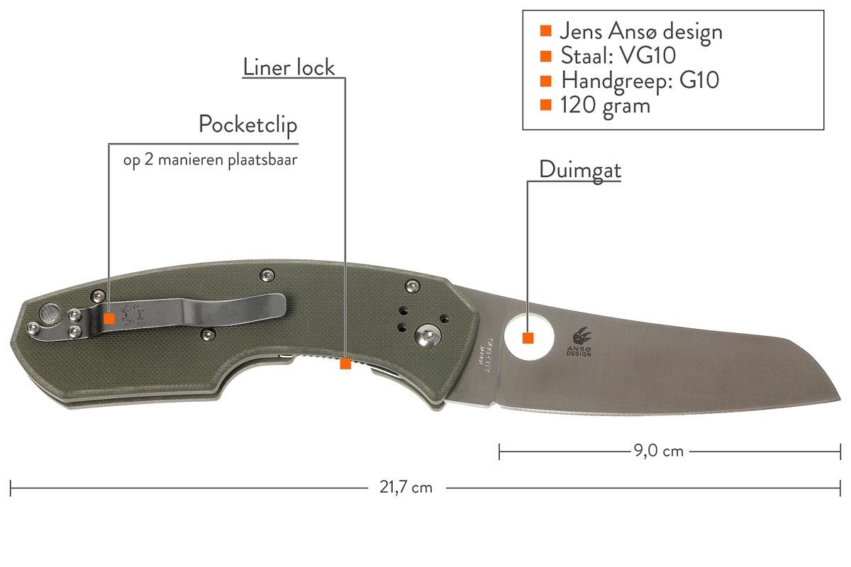 Фото 9 - Нож складной Rock Lobster by Jens Anso - Spyderco 126GPFG, сталь VG-10 Satin Plain, рукоять стеклотекстолит G10, зелёный