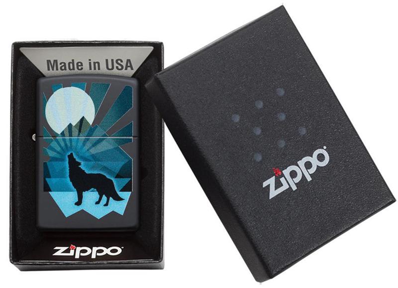 Зажигалка ZIPPO Wolf and Moon с покрытием Black Matte, латунь/сталь, чёрная, матовая, 36x12x56 мм