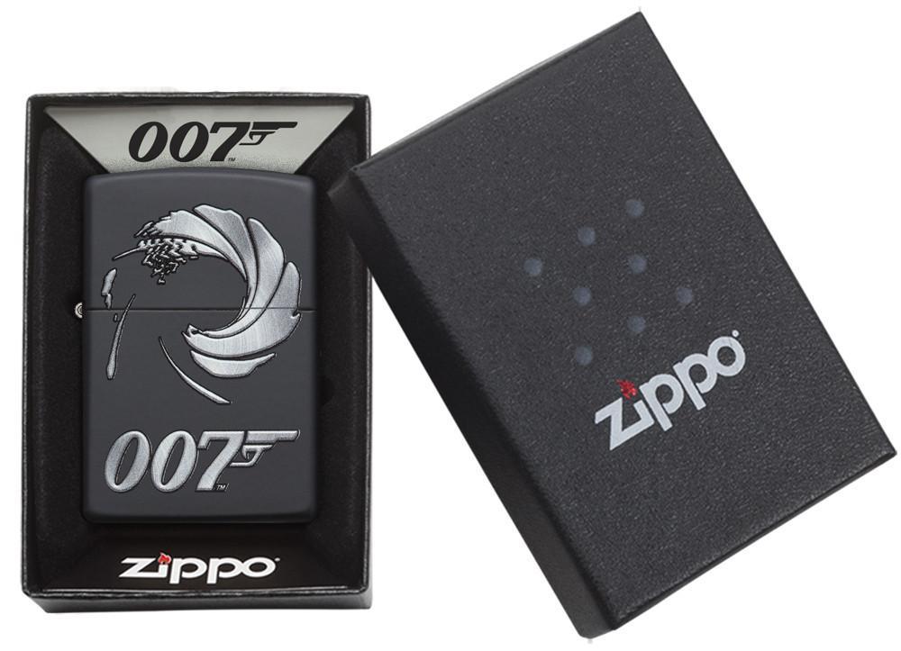Зажигалка ZIPPO James Bond с покрытием Black Matte, латунь/сталь, чёрная, матовая, 36x12x56 мм зажигалка zippo девушка огонь латунь с покрытием black matte чёрная матовая 36x12x56 мм